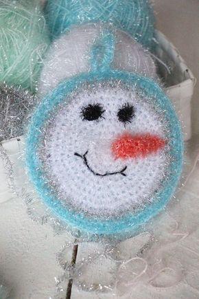 Spülschwämme NO : 4 — Wenn es schon keinen Schnee gibt, dann häkel ich mir meine Schneemänner selber |