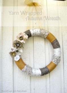 yarn wrapped autumn wreath with fabric flowers, crafts, flowers, seasonal holiday decor, wreaths, My new Yarn Wrapped Wreath