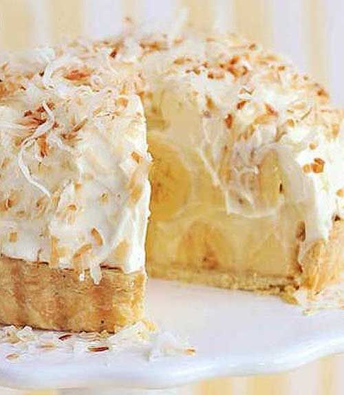 Recipe for Banana Coconut Cream Pie - Just like Grandma's Banana Coconut Cream Pie, take this to your next family reunion and you'll be the star!