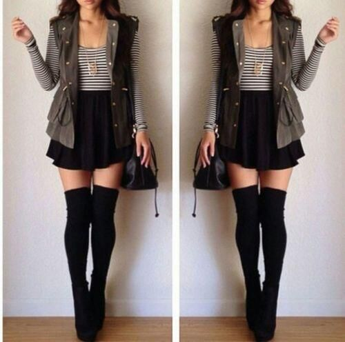 Striped long sleeve | sleeveless vest | high waisted skirt | knee high socks