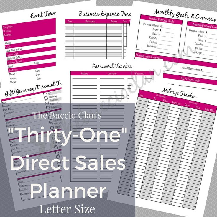 Thirty One Planner - Direct Sales Planner - Letter Size - Home Business - Direct Sales - Small Business - Printable Planner - Work at Home by GracefulPrintables on Etsy