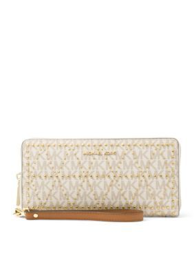 Michael Michael Kors Jet Set Travel Logo And Embossed-Leather Continental Wristlet - Vanilla - One Size