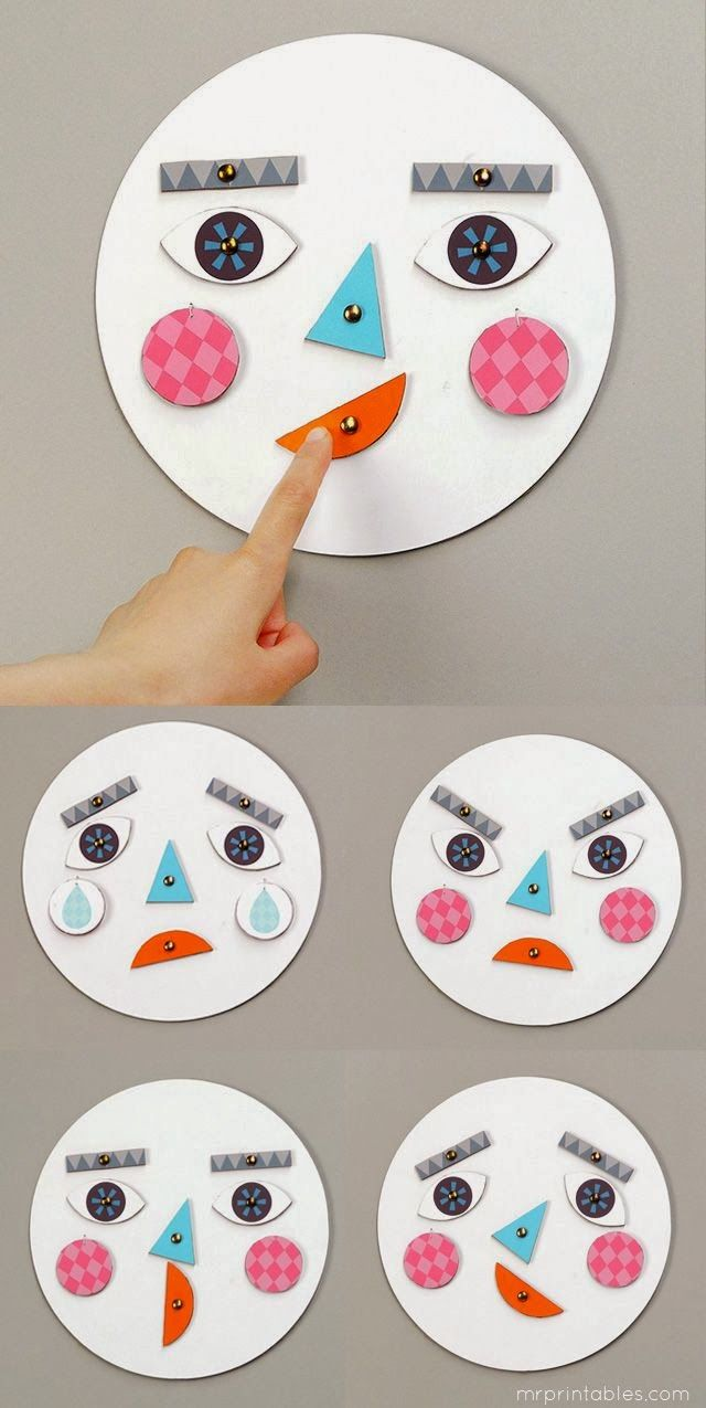 DIY Mr Printables face toy to help your toddler understand emotions