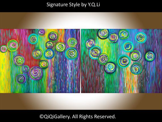 40 oil Painting Abstract Painting wall decor wall by QiQiGallery