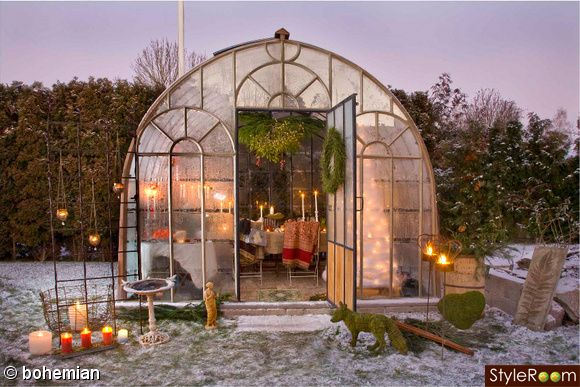 Winter Candles in the Greenhouse