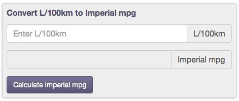 fuel economy conversion from L/100km to Imperial mpg with calculators and tables
