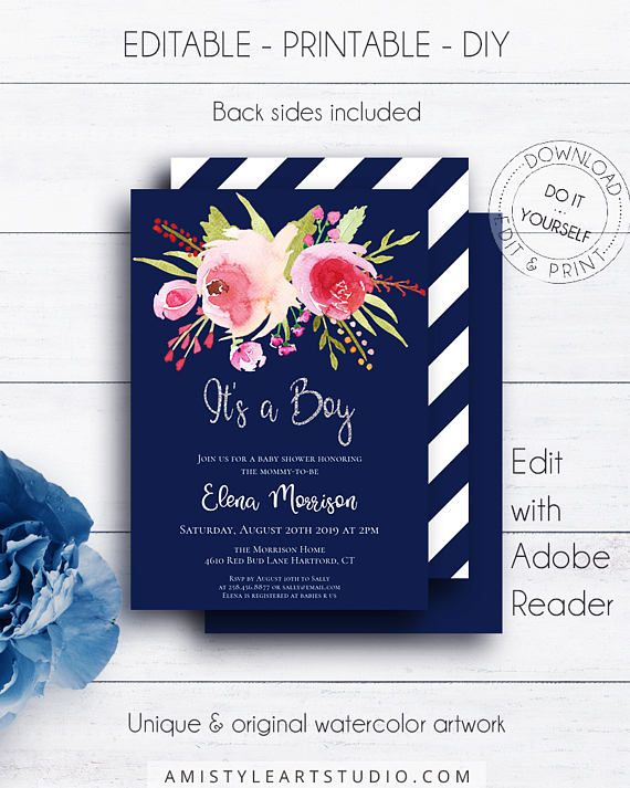Navy Blue It's a Boy Shower Invite, with nice and glamorous watercolor floral graphics on a navy blue background in classy style.This cute baby shower invitation template listing is for an instant download EDITABLE PDF so you can download it right away, DIY edit and print it at home or at your local copy shop by Amistyle Art Studio on Etsy