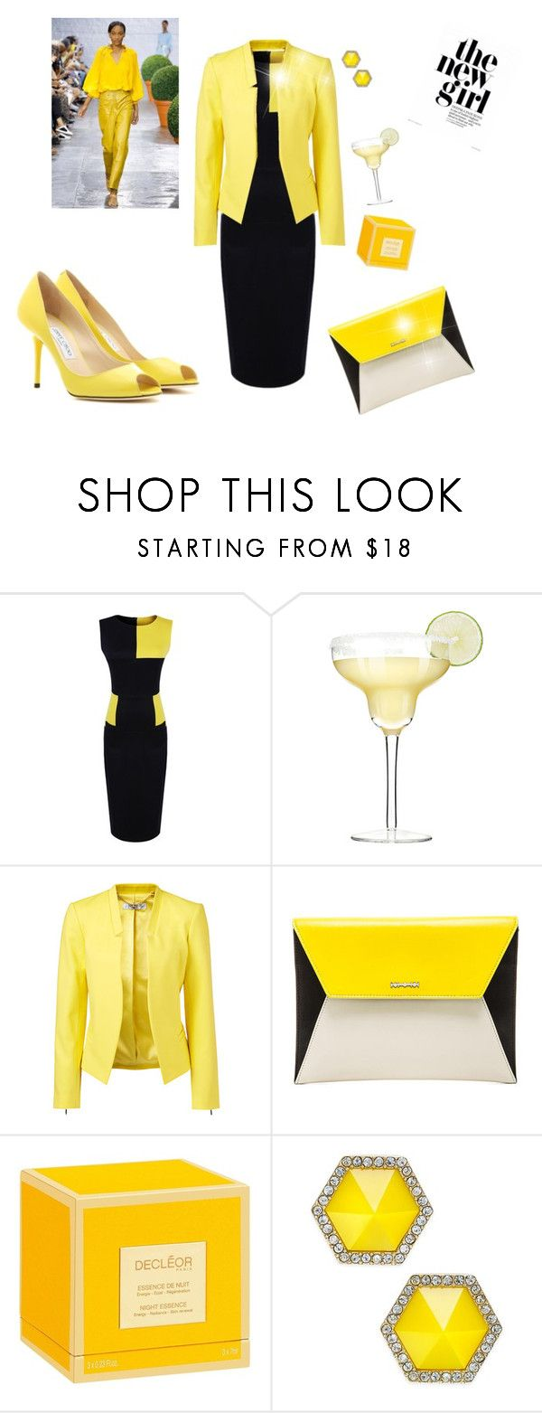 The new girl   Yellow and Black by  Diva of Cake  featuring mode, Forever New, Jimmy Choo, McQ by Alexander McQueen, ABS by Allen Schwartz, Decléor and TIBI