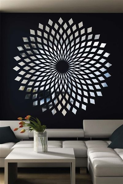 wall decals reflective forever diamonds mirror optical illusion wave mirror bolt