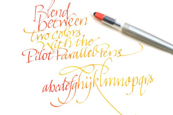 "Pilot's ""parallel calligraphy pen"" with mixable inks... shade from one hue to another in several nib widths (1.5 mm to 6.0)"