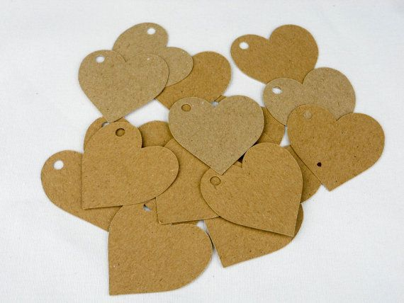 Kraft tags, price labels, 40 heart shaped 5cm x 5cm by craftschmooze. Explore more products on http://craftschmooze.etsy.com