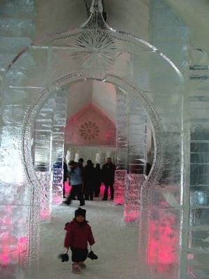 Ice Hotel in Norway - made of ice and snow and situated at the edge of the Arctic Circle, where the northern lights can be viewed!