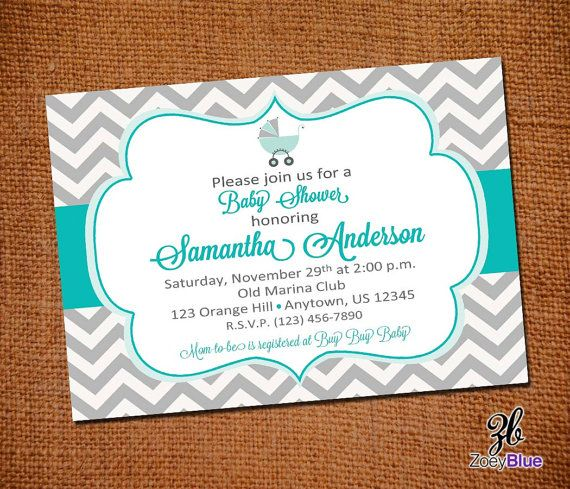 69 best moms baby shower images on pinterest cowboys indian party tiffany blue and grey chevron baby shower invitation chevron zig zag stripe tiffany blue gray stopboris Choice Image