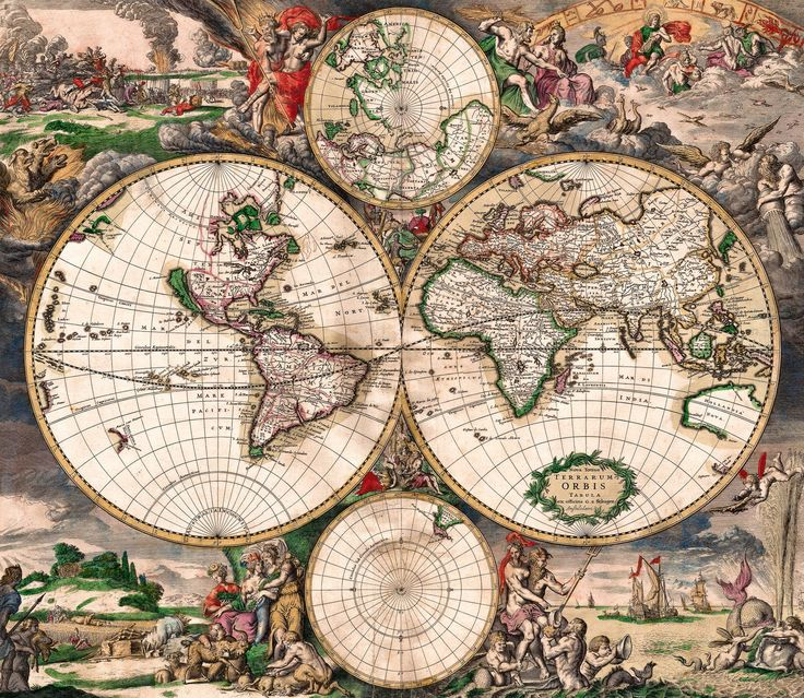 20 best antique maps vintage maps art prints images on antique world map old vintage map 1689 fade resistant hd print or canvas gumiabroncs Gallery