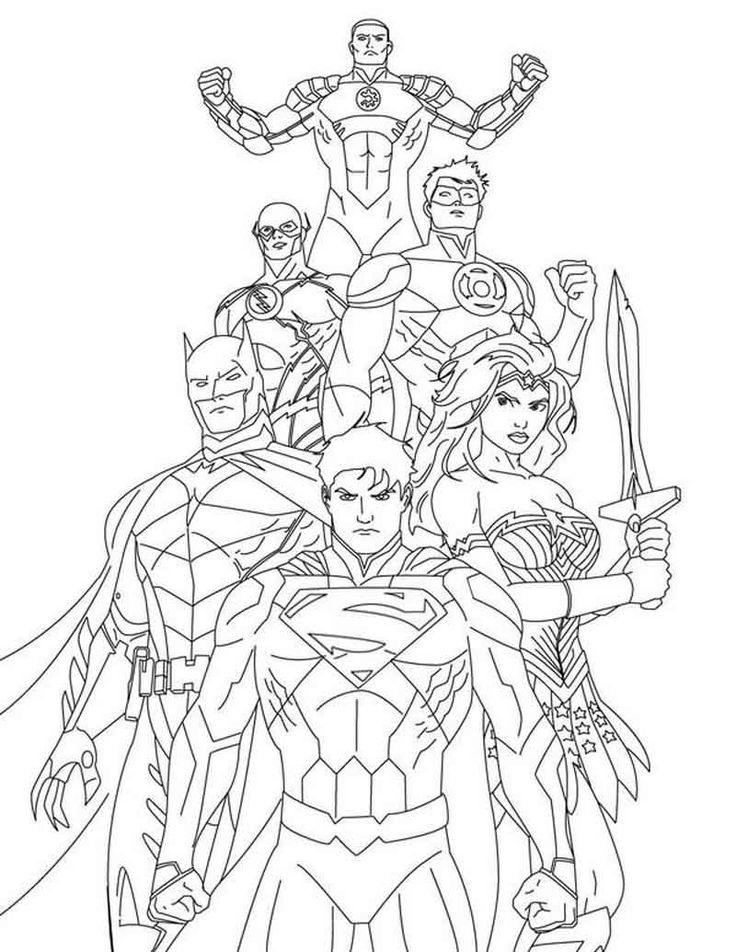 Justice League Coloring Page Printables in 2020   Superman ...