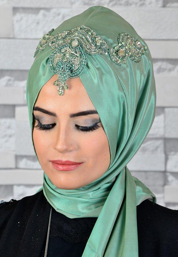 b521d520d22a8 Mint Yeşili İşlemeli Hazır Mıknatıslı Abiye Şal | Resim in 2019 ...