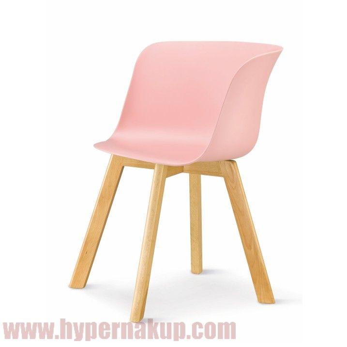 Stolička, plast+drevo buk, ružová, LEVIN
