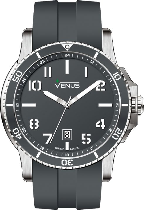 VENUS announces a colorful season with this new line of CHROMA! Quartz Time-Date 46mm The new intense colors make the originality of this line: ardent grey, imperial green, deep blue, extreme dark. Their perfect alchemy keeps harmony over the components of the watch.  These timepieces provide the proper rhythm to everyday life of active men.