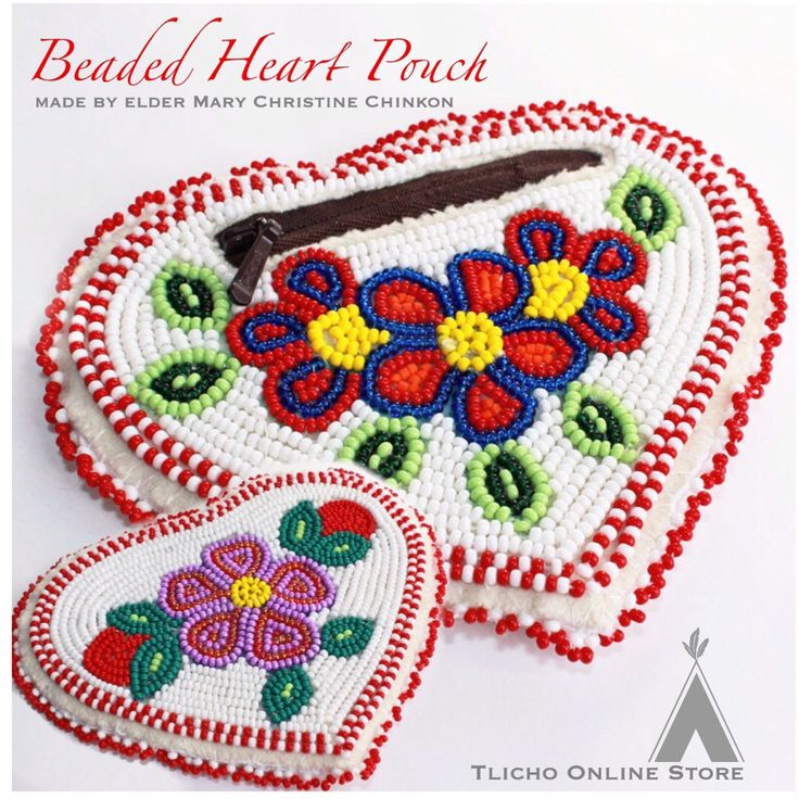 #Beaded #Heart Pouch made by #Tlicho elder, Mary Christine Chinkon of #Behchoko now on http://onlinestore.tlicho.ca