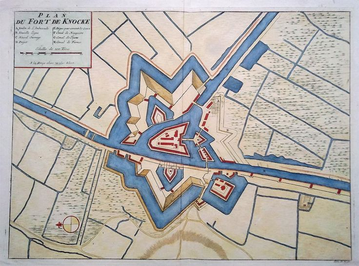 Early 18th century map of Fort Knocke in Flanders