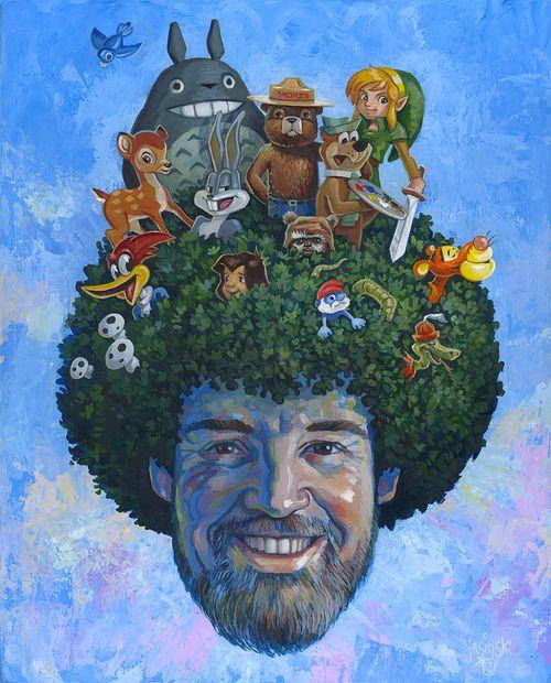 Bob Ross: Saturday Morning Sanctuary by Aaron Jasinski: Galleries, Bobs Ross, Bob Ross, Childhood Memories, Happy, Trees, Aaron Jasinski, Art Shows, Saturday Mornings