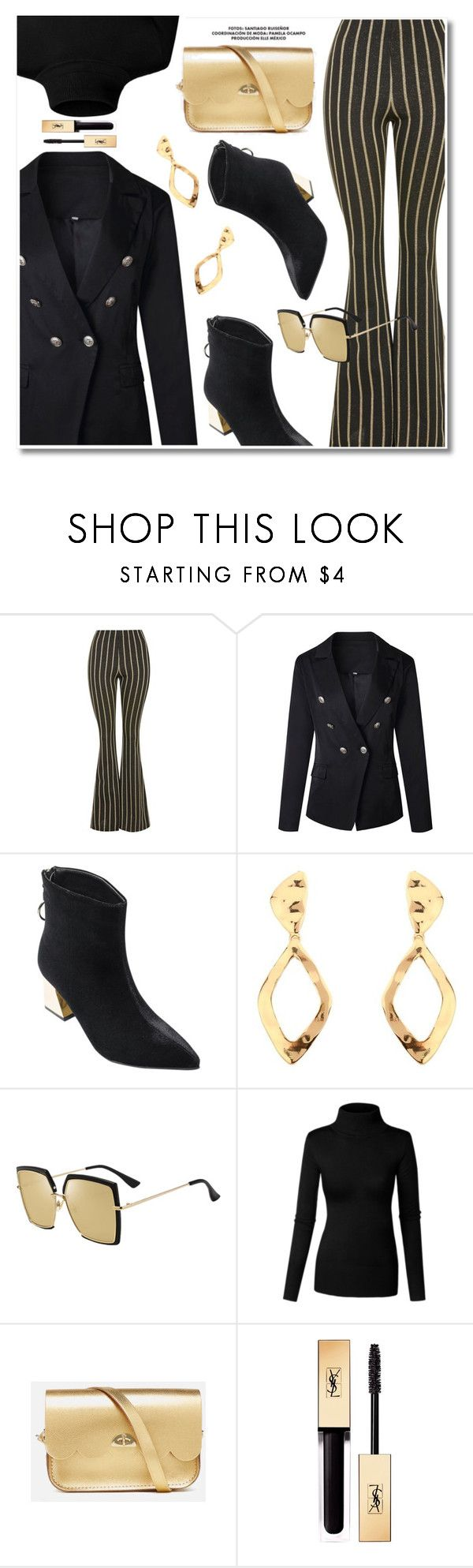 """""""Gold and black"""" by paculi ❤ liked on Polyvore featuring The Cambridge Satchel Company and Yves Saint Laurent"""