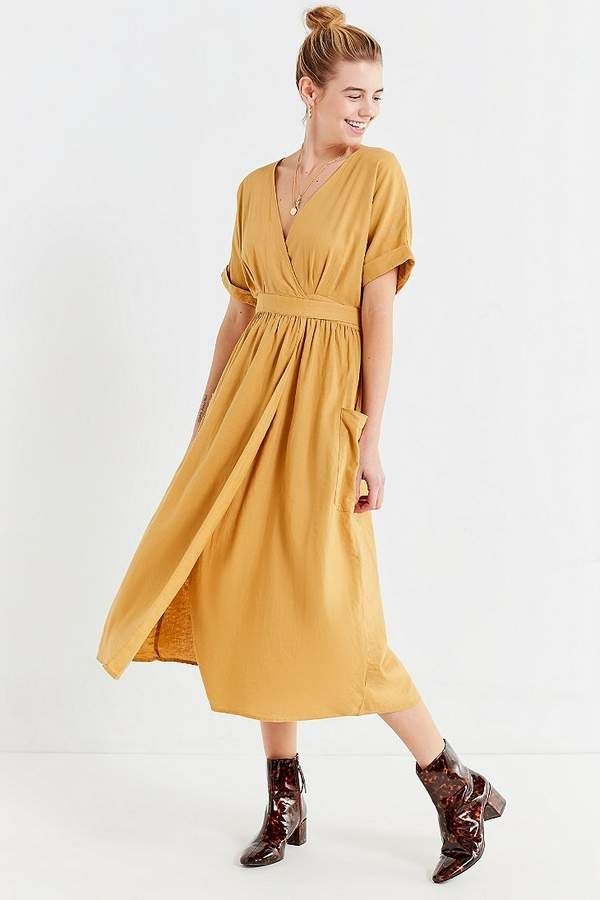 9debede56eb Urban Outfitters Gabrielle Linen Midi Wrap Dress