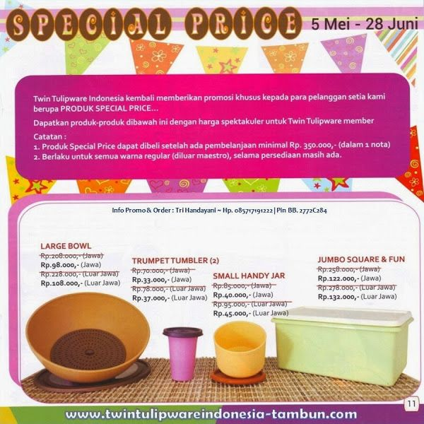 Special Price Twin #Tulipware | Mei - Juni 2014
