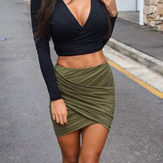 2016 American Apparel Street Fashion Women Lady High Waist Short Skirt Sexy Bandage Bodycon Cross Fold Pencil Skirts 5 Colors