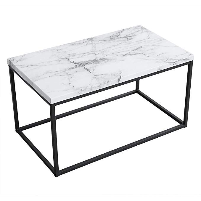 Amazon Com Roomfitters White Marble Print Coffee Table Upgraded