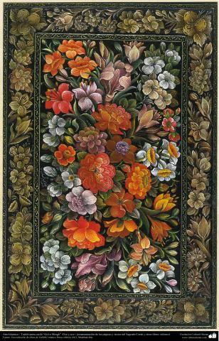 """Arte Islámico-Tazhib persa estilo """"Gol-o Morgh"""" -Flor y ave- 33   Galería de Arte Islámico y Fotografía"""