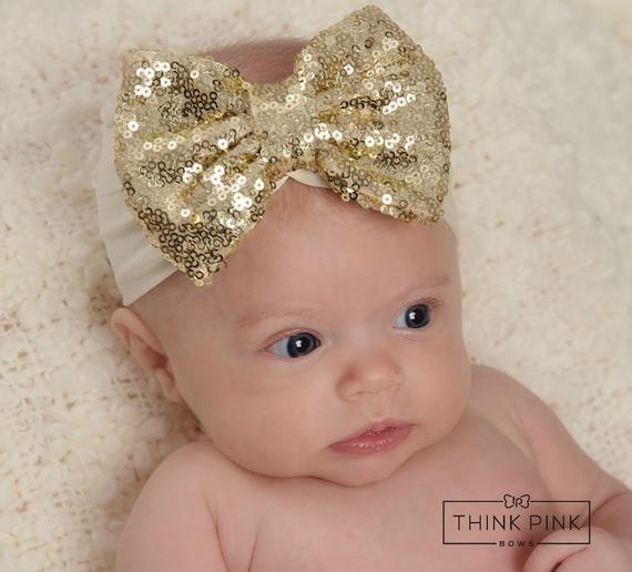 Glitter Baby Headband Nylon Headband Baby Nylon Headband White Christmas Bow Glitter Bow Big White Baby Bow Headband Toddler Headband