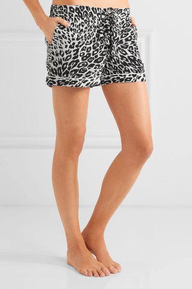 Equipment - Lillian Leopard-print Washed-silk Pajama Set - Black - x small