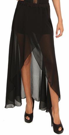 Black Chiffon Shorts Skirt