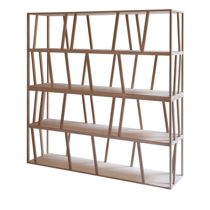 Double sided freestanding bookcase in solid oak wood that can also work as a room partition the pattern a design by slow wood is made of simple sloping