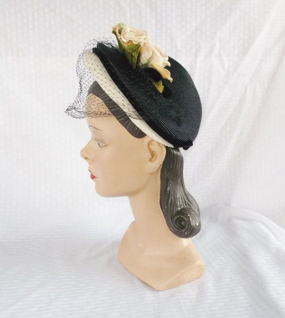 40's 50's Vintage Blue and White Hat with by MyVintageHatShop, $52.00