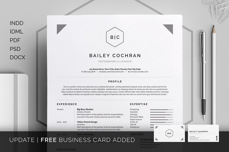Resume/CV - Bailey - Resumes - Cover letter - Business card - Template - Curriculum Vitae