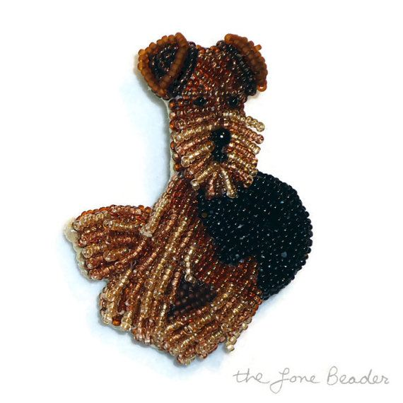 AIREDALE or WELSH TERRIER beaded dog pin pendant by thelonebeader