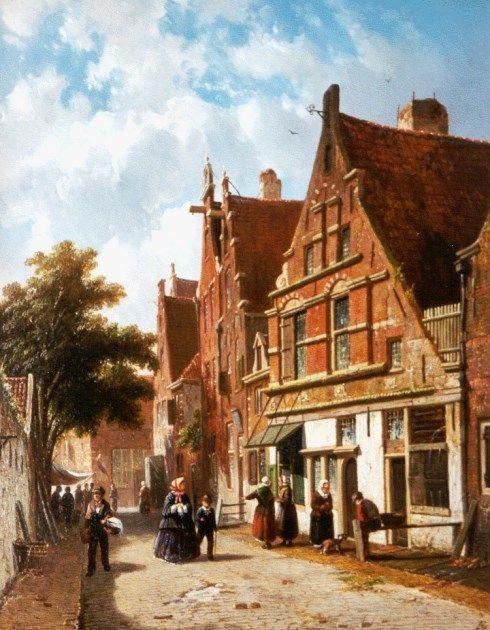 Adrianus Eversen (Amsterdam 1818-1897 Delft) A Dutch street in summer - Dutch Art Gallery Simonis and Buunk Ede, Netherlands.
