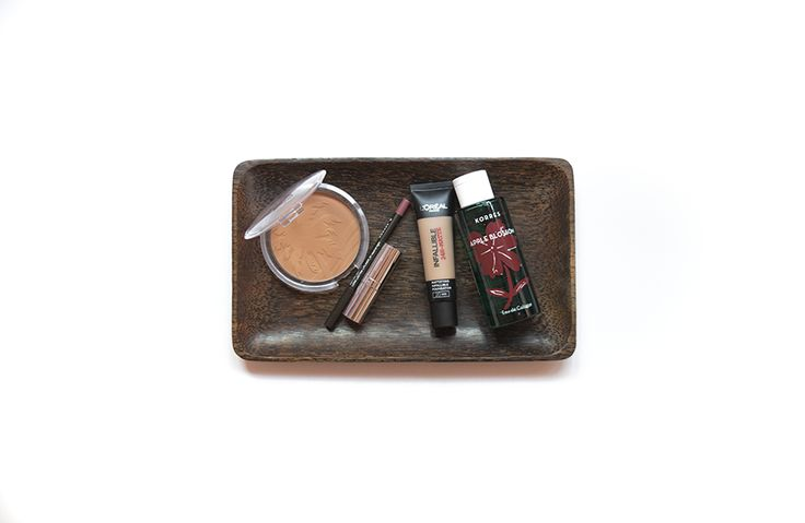 5 products you need this fall: Essence Sun Club Bronzer, L'Oreal 24H Matte Infallible, Korres Neutral Light Lip Pencil, Seventeen Plum Lipstick, Korres Apple Blossom Eau de Cologne