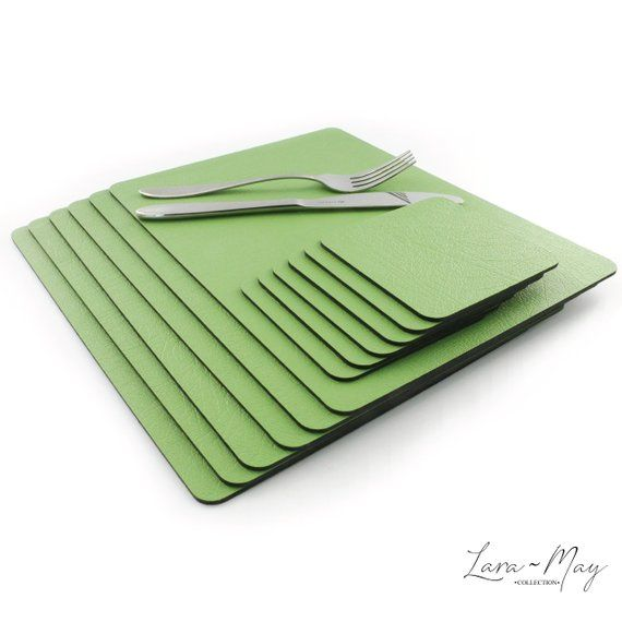 Placemats Set Of 8 Recycled Apple Green Yellow Place Mat 28cm Etsy Green Placemats Leather Coasters Placemats
