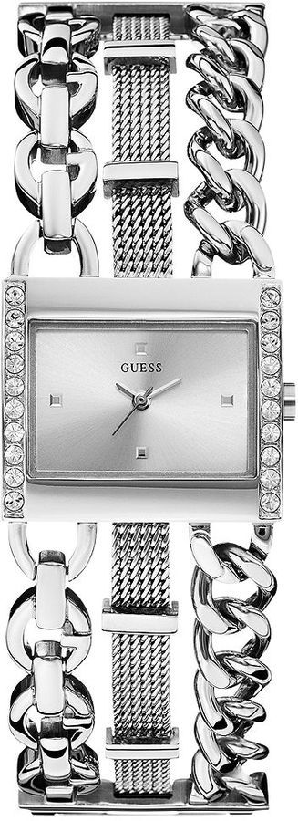 GUESS Women's Stainless Steel Chain and Mesh Bracelet Watch 24x28mm U0433L1 on shopstyle.com