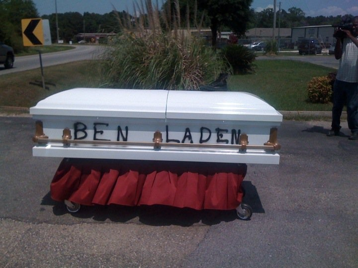 The day after Osama Be Laden's death, this was on the side of the road. Yeap... that's Alabama humor!