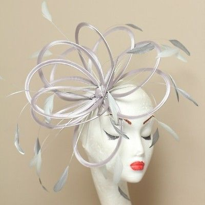 NEW Silver Pale Blue Fascinator Hat wedding Choose any colour satin &feathers co