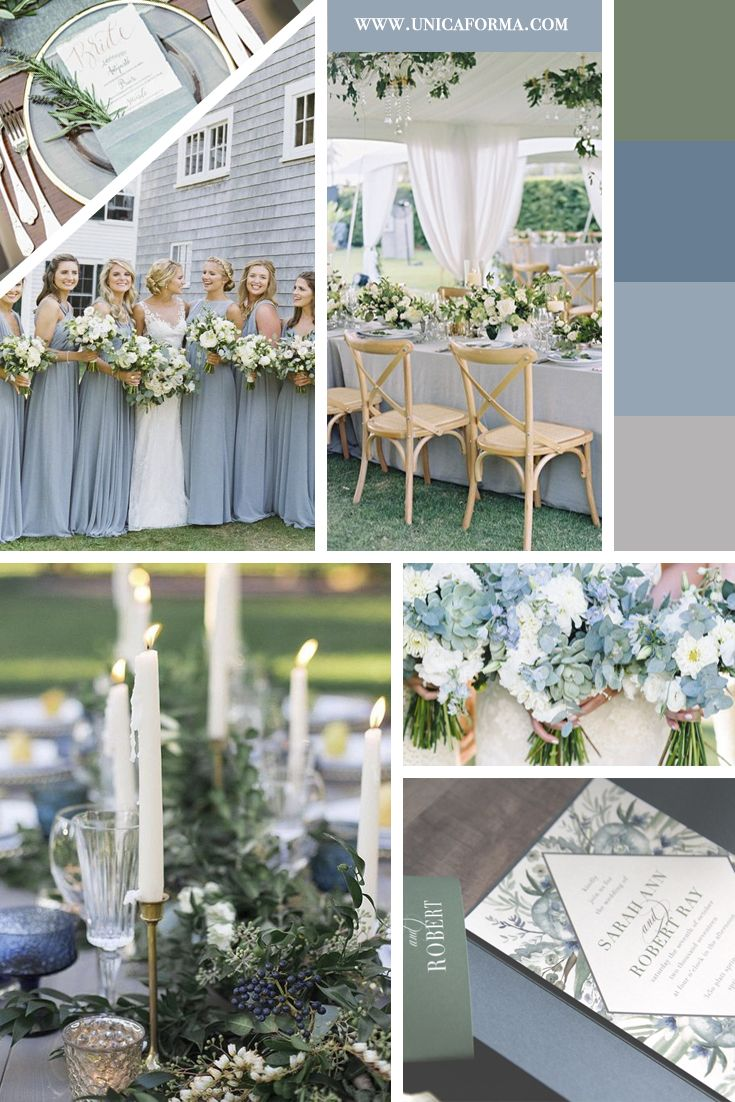 Dusty blue wedding inspiration. Slate blue wedding inspiration. Slate and dusty blue. Greenery wedding inspiration. Slate blue and green wedding. Dusty blue wedding with greenery. High end wedding invitations by Unica Forma. Dusty blue bridesmaid dress. Slate blue wedding table. Slate blue bouquet.