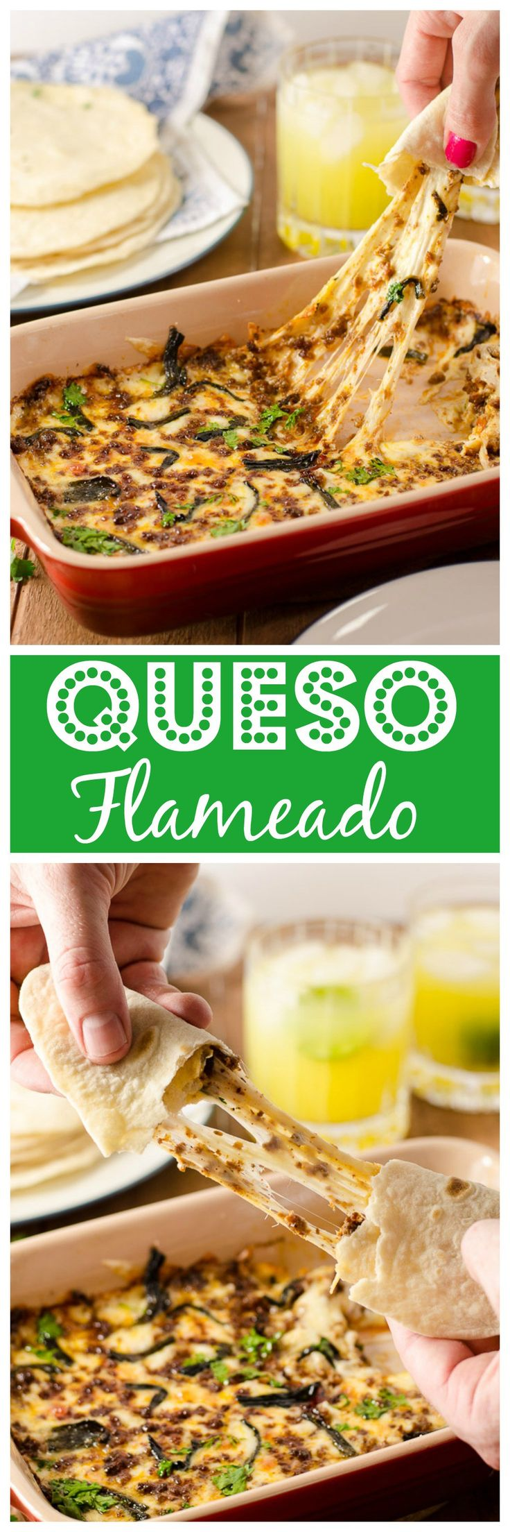 Queso flameado is an incredibly cheesy, just-slightly-spicy appetizer of mind-boggling deliciousness. Wrap in a tortilla and die happy.