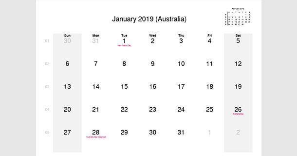 January 2019 Calendar With Holidays Australia 100 January And