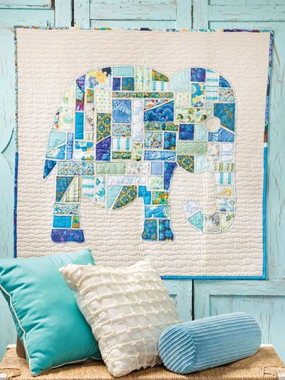 Ticker Tape Elephant Wall Hanging/Baby Quilt by Reanna Lily Designs.  For the 2013 book, Scrap Happy Quilting at annies.com