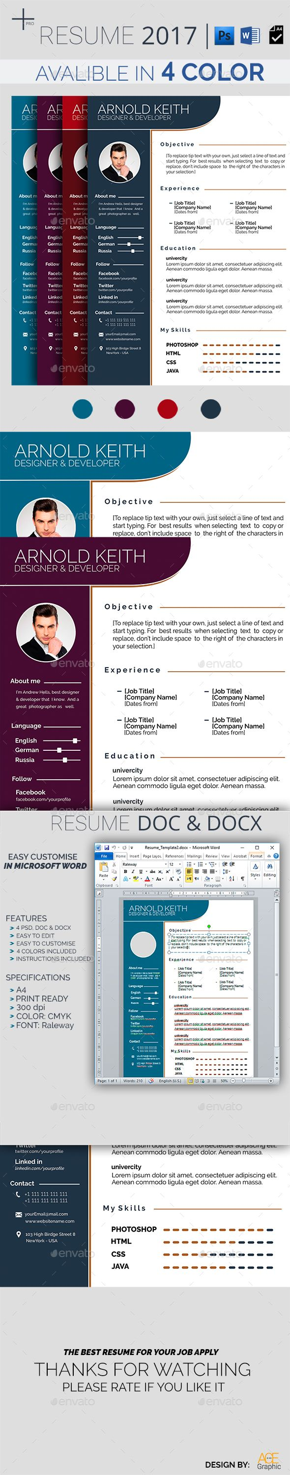Microsoft Word 2007 Template For Resume%0A Resume by AceGraphic Features of Resume Template   Color Paper Size Quick  and easy to customize templatesChange Customize easily in MS WORD