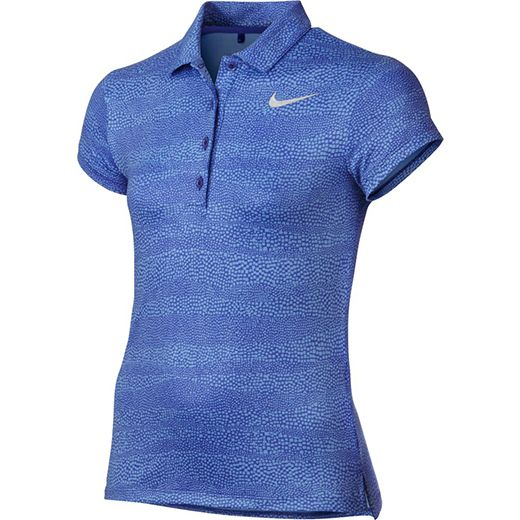 Love Junior Golf Outfits? Here's our  Paramount Blue/Metallic Silver Nike Junior Girls Printed Golf Polo Shirt! Find plenty of Junior Golf Apparel here at #lorisgolfshoppe